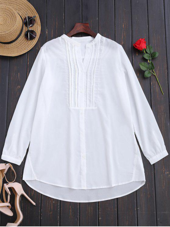 hot Longline Half-Buttoned Shirt - WHITE S