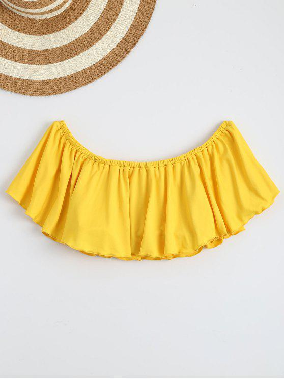 fashion Off Shoulder Ruffle Cropped Top - YELLOW L