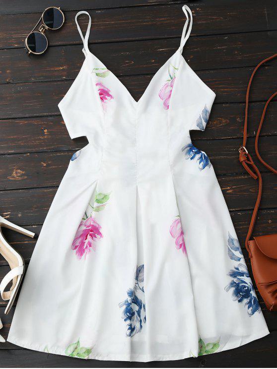 Robe Florale Plissée Dos Nu avec Coupe Latérale - Blanc L
