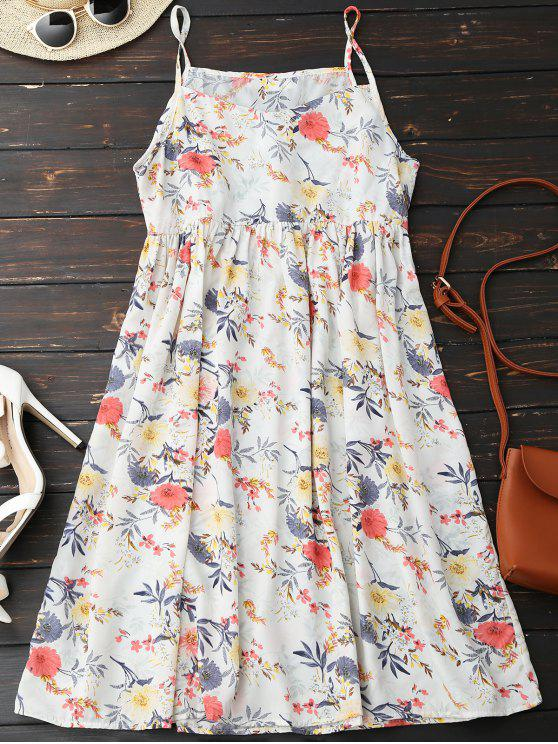 women's Cami Floral Smock Dress - WHITE M