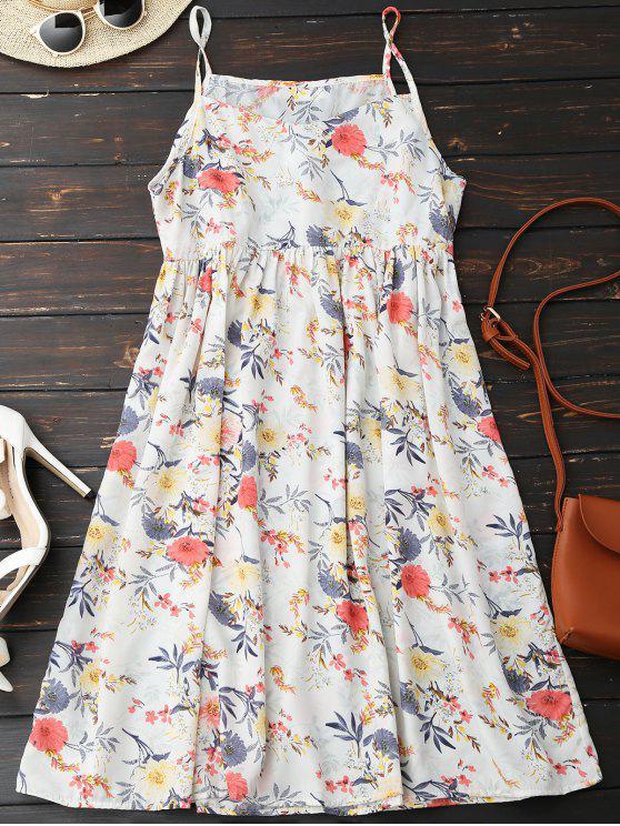robe à bretelles et à motif floral - Blanc L