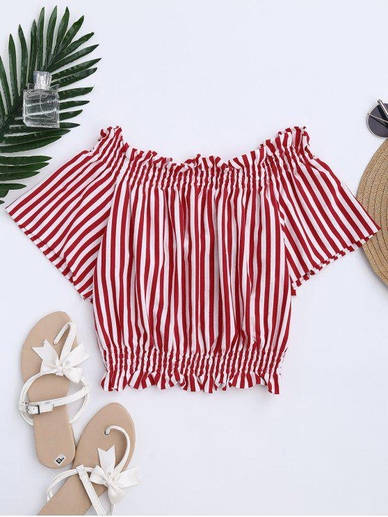 affordable Stripes Bowknot Off The Shoulder Top - STRIPE L