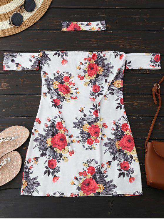 فستان قلادة زهري ضيق مصغر توب - أبيض L