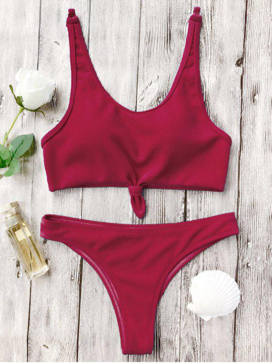 women's Knotted Bralette High Cut Bikini Set - RED L