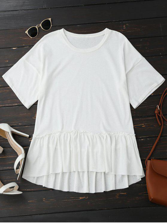 outfits Short Sleeve Ruffle Hem T-Shirt - WHITE ONE SIZE