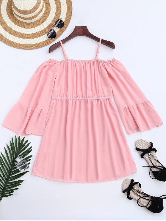 unique Chiffon Cold Shoulder Mini Dress - PINK S