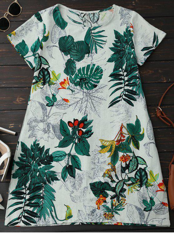 affordable Leaf Print Linen Smock Dress - GREEN L
