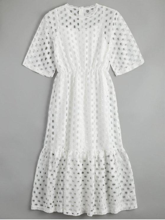 Hollow Out Ruffle Dress com Tank Top - Branco M