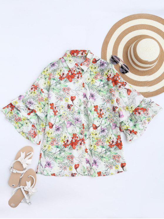 unique Dolman Sleeve Floral Oversized Blouse - FLORAL S