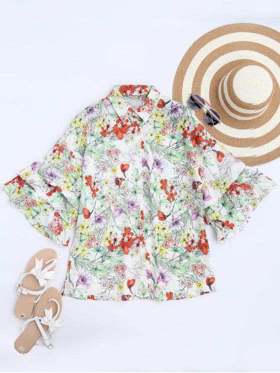 affordable Dolman Sleeve Floral Oversized Blouse - FLORAL L