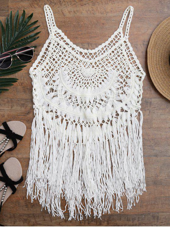affordable Tasselled Crochet Tank Top Cover Up - OFF-WHITE ONE SIZE