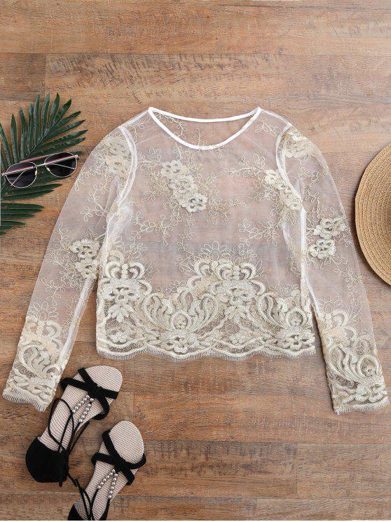 women Golden Thread Sheer Mesh Cover Up Top - GOLDEN ONE SIZE