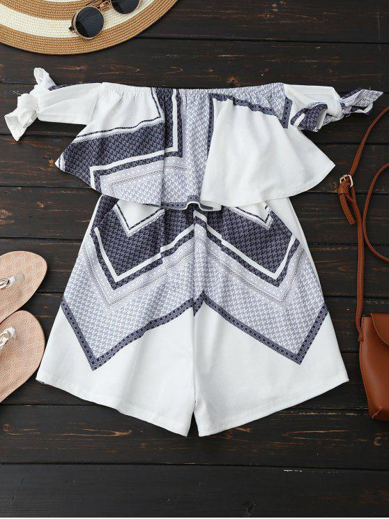 best Geometric Patterned Tube Romper - WHITE XL