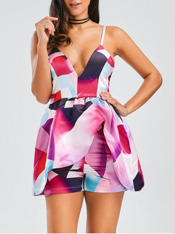 Cami Layered Printed Romper - Multicolore L