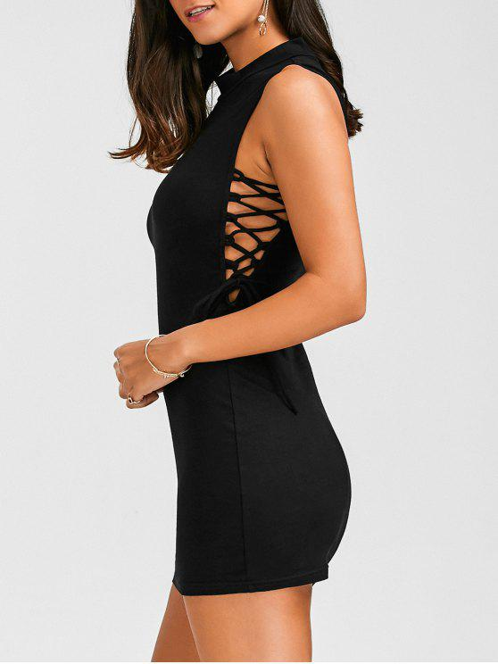 Mock Neck Lace Up Bodycon Vestido - Negro S