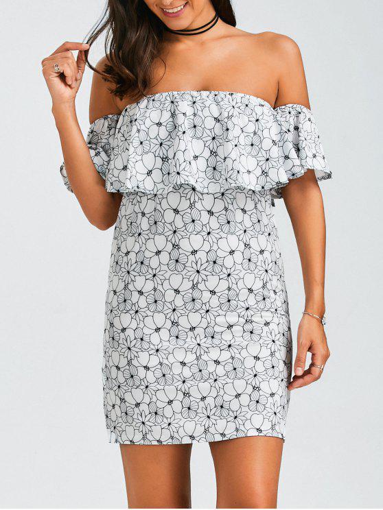 Ruffles florales sur la mini robe à l'épaule - Floral XL