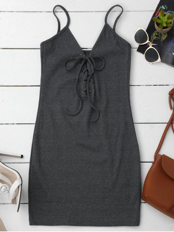 Vestido Ceñido de Tejido de Tirantes Finos con Tiras Cruzadas - Gris Única Talla