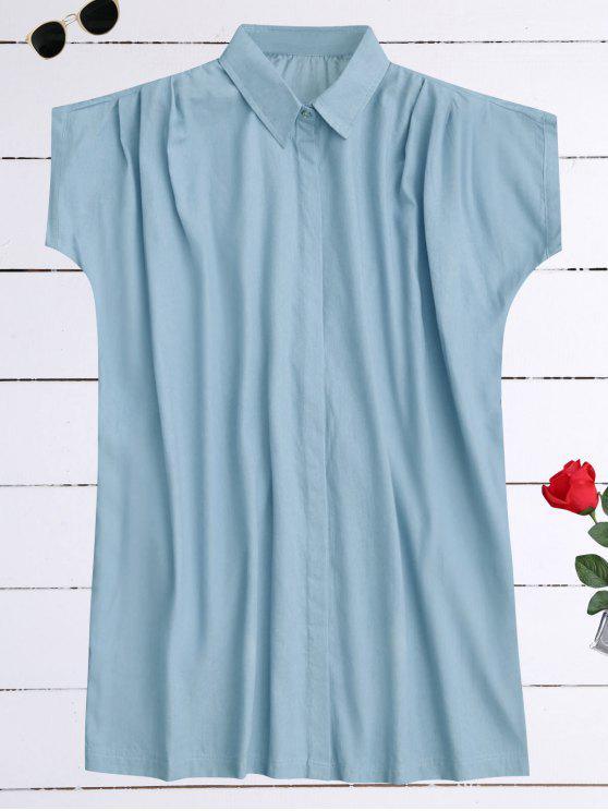 chic Oversized Button Up Denim Shirt Dress - LIGHT BLUE S