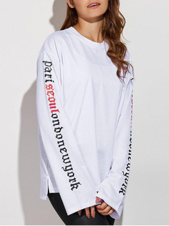 chic Letter Patterned Sweatshirt - WHITE L