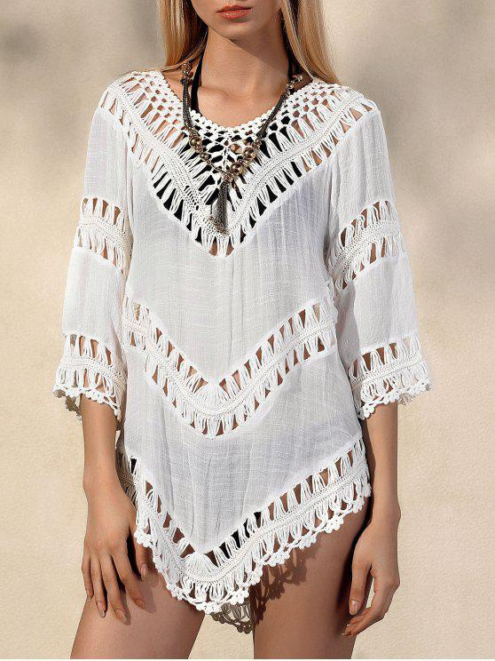 latest V-Neck Crochet Blouse - WHITE ONE SIZE(FIT SIZE XS TO M)