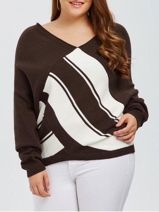 Color Block Plus Size V Neck Sweater - Café 4XL