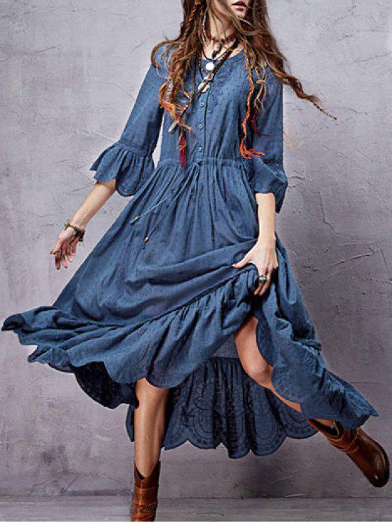 Vestido a media pierna inserción del cordón deshilachado - Azul L