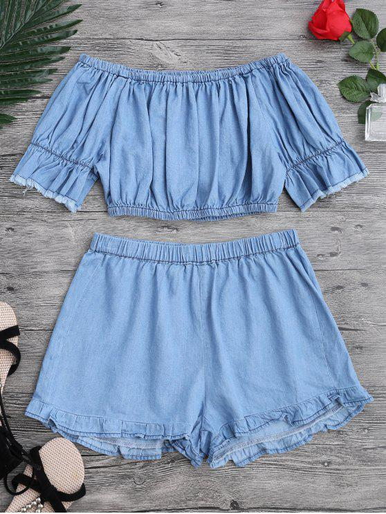 ladies Off The Shoulder Cropped Top and Ruffles Shorts - BLUE M