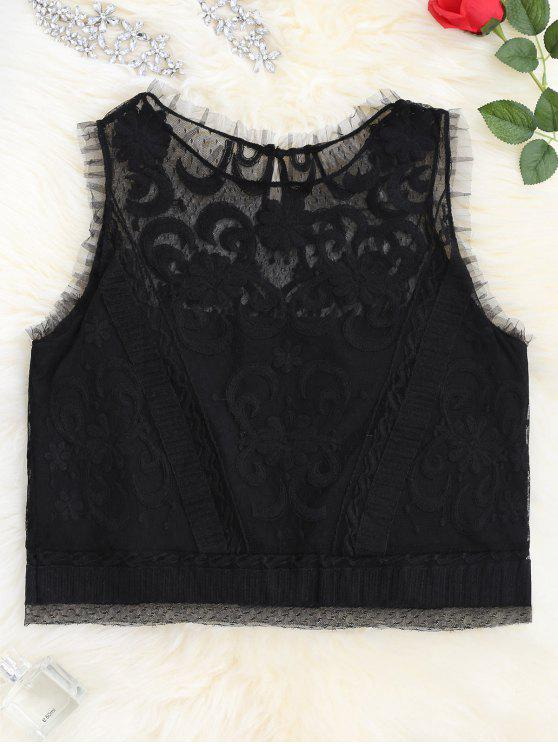 new Lace Keyhole See-Through Tank Top - BLACK L