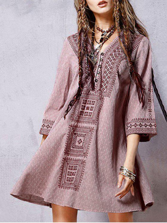 women Embroidered Flared Vintage Dress - RED M