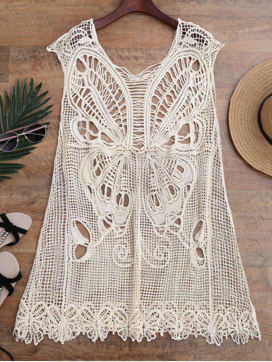 hot Crochet Butterfly Cover Up Tunic Dress - BEIGE ONE SIZE