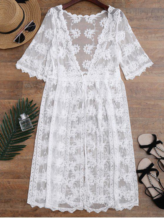 Embroidered Sheer Lace Beach Cover Up - White