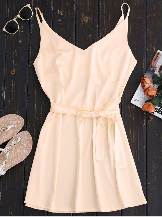 hot Mini Cami Slip Dress With Choker Strap - APRICOT L