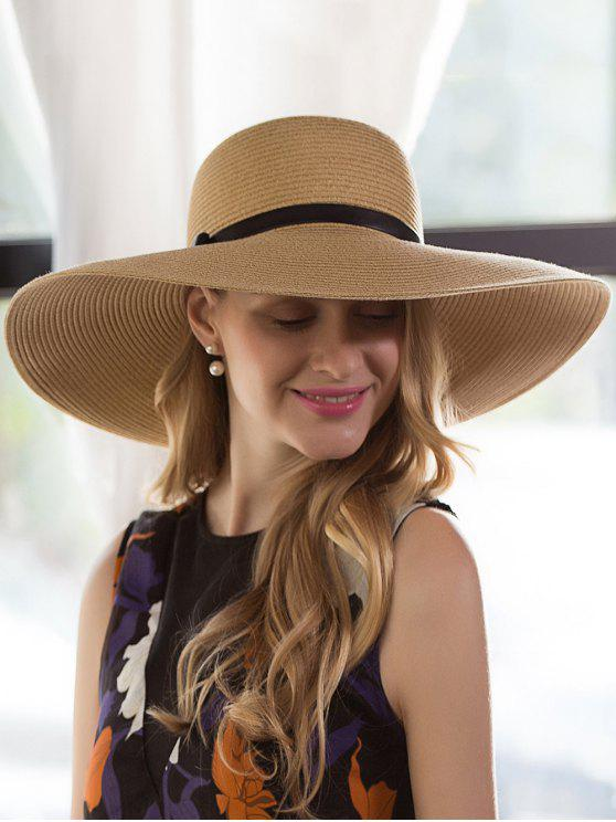 Oversize Brim Ribbon Bowknot Pinstripe Sombrero de paja - Palomino