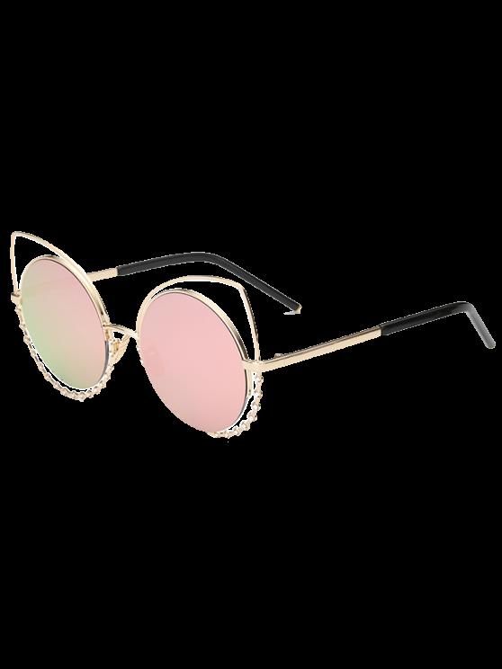 Rhinestone redonda ahueca hacia fuera las gafas de sol del ojo del gato - Rosa