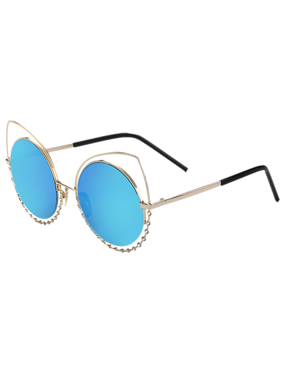 women's Rhinestone Round Hollow Out Cat Eye Sunglasses - BLUE