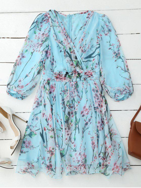 unique Floral Surplice Flowy Dress - PINKISH BLUE L