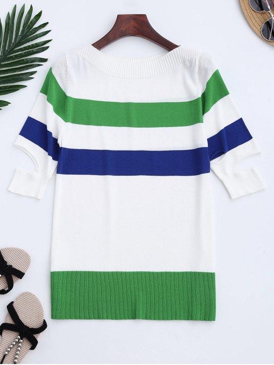 Strick-Farbblock Split Sleeve Top - Grün Eine Größe
