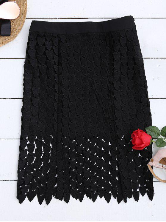 outfits Lace Cut Out Sheath Skirt - BLACK L
