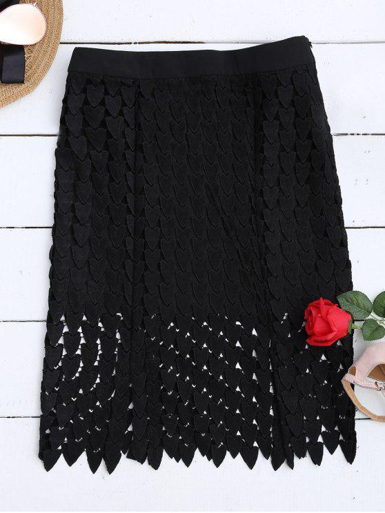 Falda recortada de encaje - Negro L