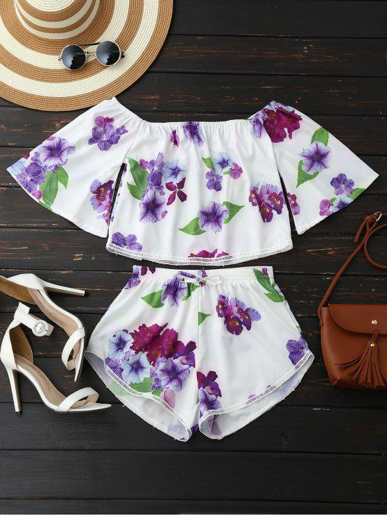 fancy Off Shoulder Floral Crop Top and Shorts - WHITE M