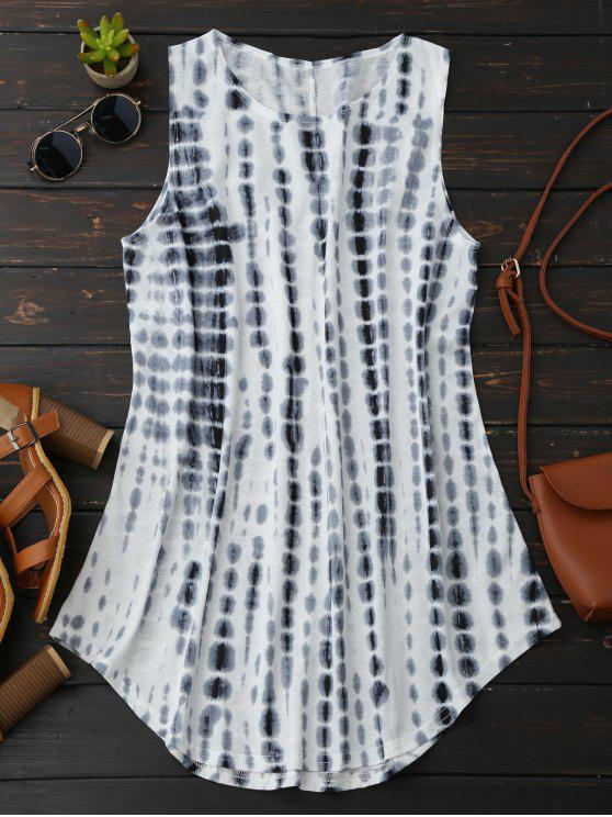 best Tie-Dyed Trapeze Dress - WHITE L