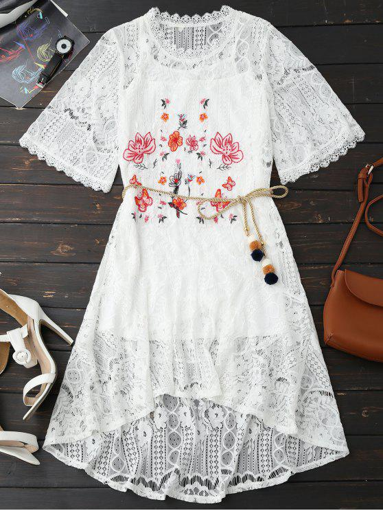 outfit Rope Belt Lace Floral Dress With Tank Top - WHITE L