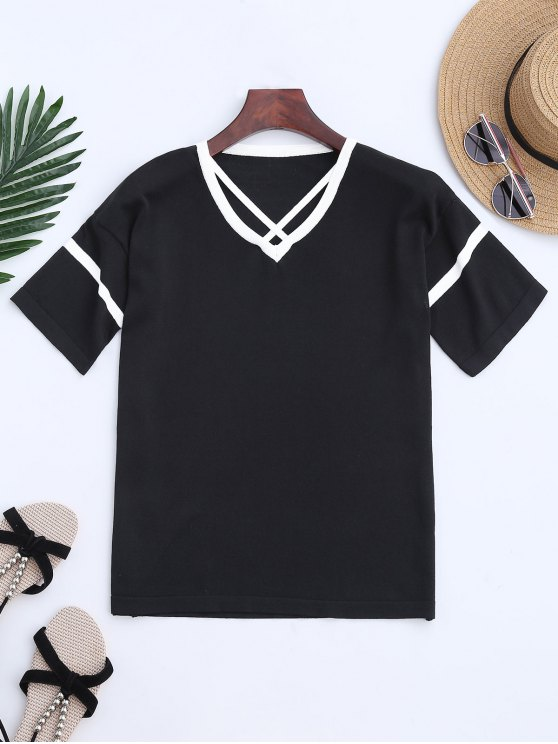 fashion Color Block Criss Cross Knitting Top - BLACK ONE SIZE