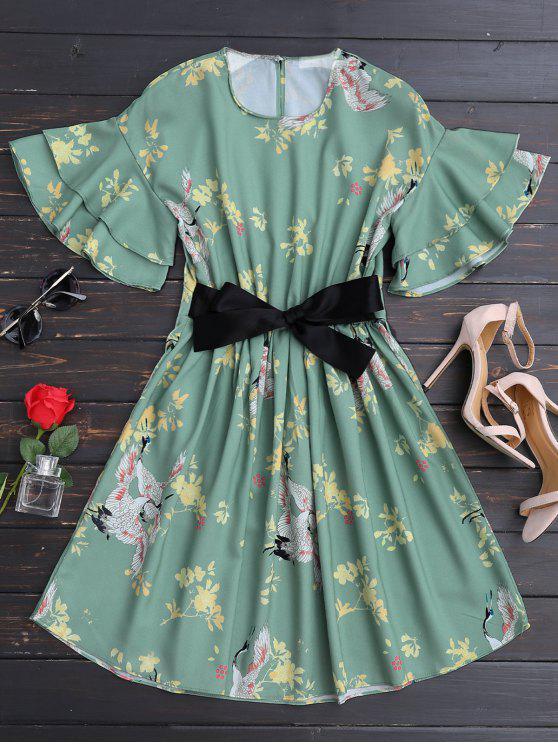 Robe A ligne florale ceinturée embelli falbalas - Floral S