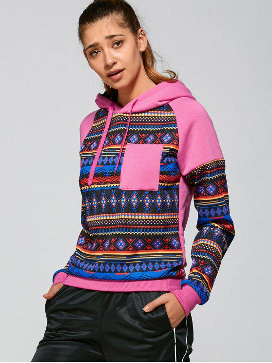 outfit Tribal Pattern Hoodie - PINK L