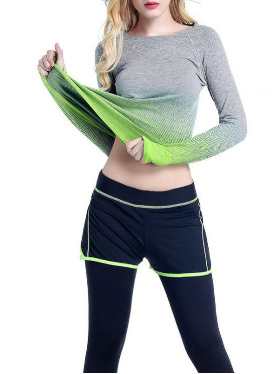 ladies Ombre Yoga Gym T-Shirt - GREEN L