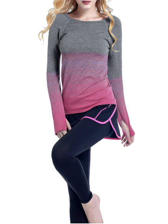 trendy Ombre Yoga Gym T-Shirt - ROSE RED S