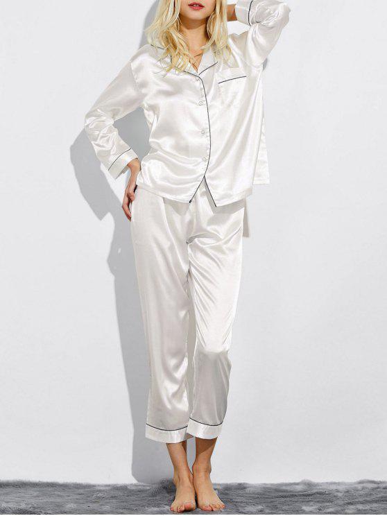 Montaje de seda ropa de dormir pijamas - Blanco L