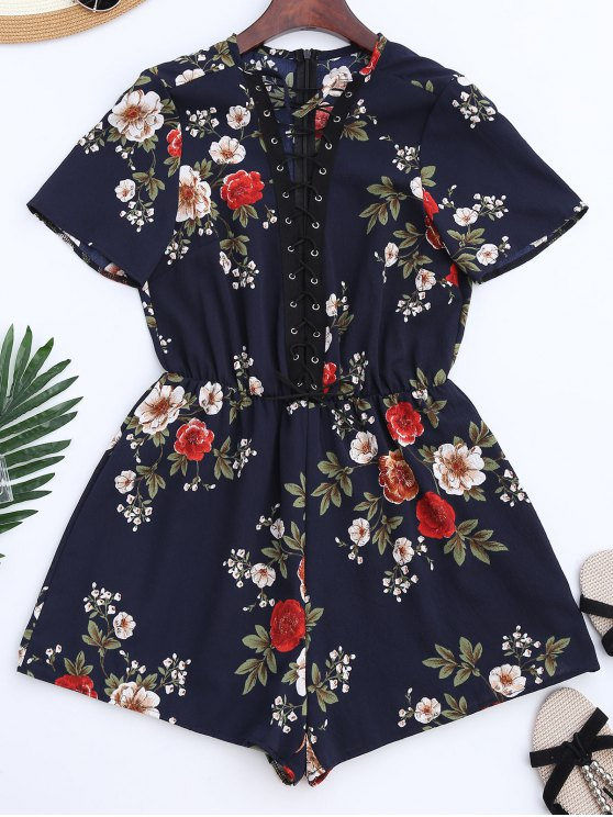 outfit Lace Up Floral Choker Romper - BLUE S