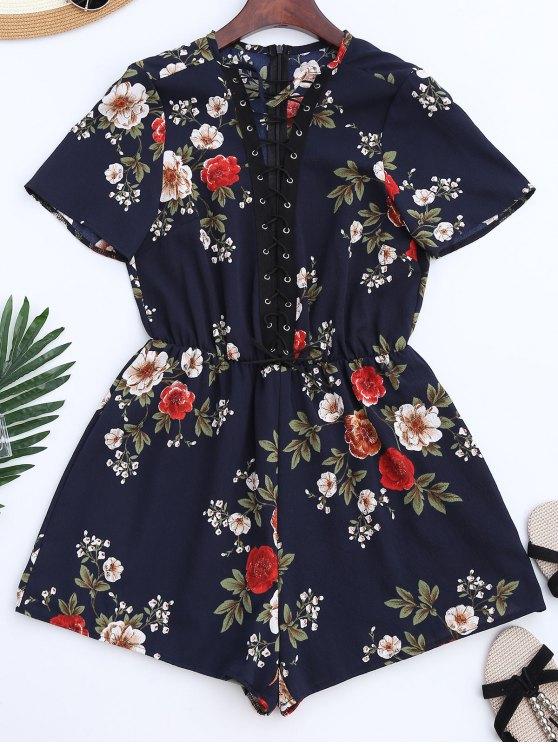 Encaje hasta Choker Floral Romper - Azul S